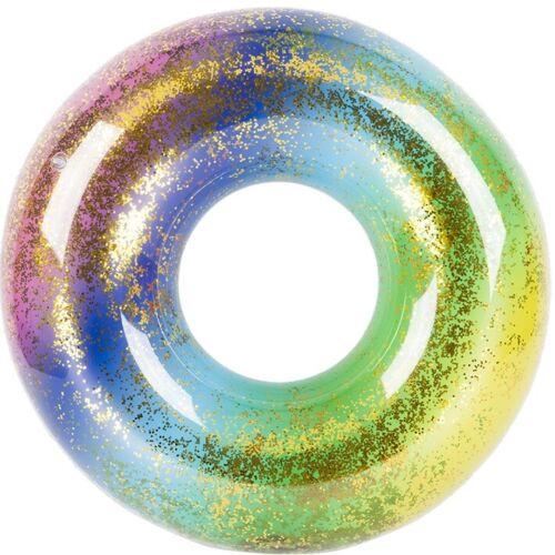 Aufblasbar Glitter Gefüllt Regenbogen Schwimm Ring Wasser Ausrüstung Spaß Floß