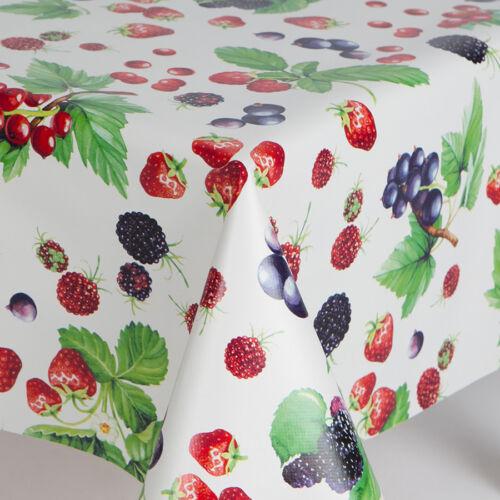 PLAIN SUMMER FRUITS PVC WIPE CLEAN VINYL TABLE CLOTH MULTI WHITE STRAWBERRY LEAF
