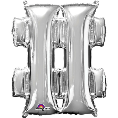 Silver Foil A-Z Letter Balloon Self Inflating Date Name 0-9 Number Message