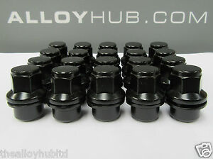 BRAND-NEW-LAND-ROVER-DEFENDER-90-110-130-BLACK-COATED-ALLOY-WHEEL-NUTS-SET-X20