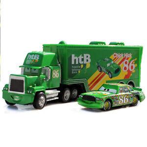 2pcs-Disney-Pixar-Cars-86-Chick-Hick-RTB-Mack-Racer-Truck-Container-Diecast