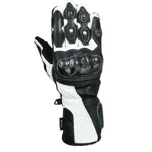noir-blanc-en-cuir-sport-moto-moto-Gants-d-039-ete-Taille-XL