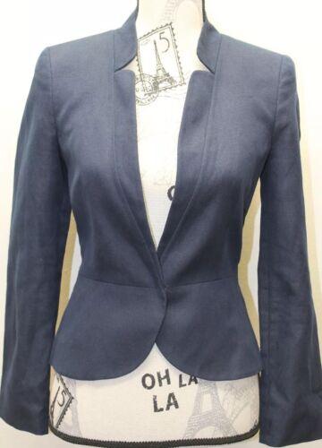 Lino Fitted Women cotone foderato One blu Open Button Mango in Blazer Suit wRX5q10