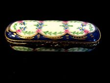 Vintage Porcelain Limoges France Peint Main Sewing Needle Trinket Box Cobalt