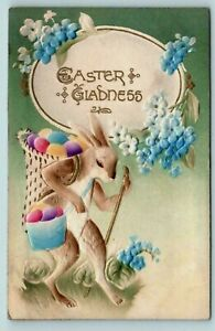 Dressed-Bunny-Rabbit-with-Basket-of-Colored-Eggs-Airbrushed-Easter-Postcard-s219