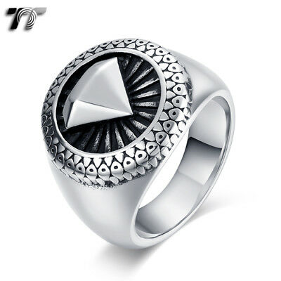 Quality TTstyle 316L Stainless Steel Vampire Ring Blue Mens Womens Size 8-13 NEW