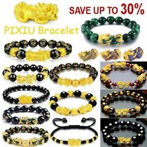 Feng Shui Pixiu  Bracelet Black Obsidian Buddhism Beads Attract Wealth Good Luck