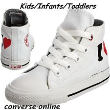 KIDS Boy Girls CONVERSE All Star (PRODUCT RED) I LOVE HI TOP Trainers SIZE UK 10
