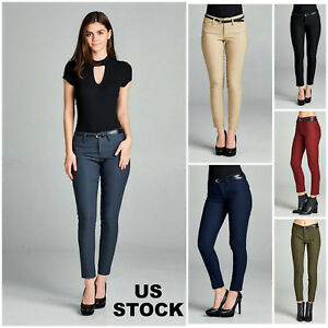 Women-Skinny-Pants-Jeggings-Cigarette-Causal-Formal-Trousers-Belted