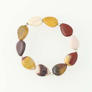 New-Mookaite-Beaded-Bracelet-Multi-Color-Stones-Stretchy-Band-Statement-7-034