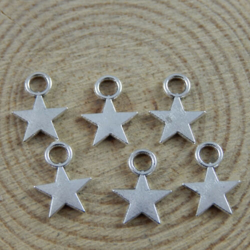 Antiqued Silver Alloy Simply Stars Pendant Findings Jewelry 9*9*1mm 200pcs