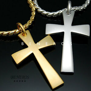 Simple Cross Pendant Chain Necklace 18k Gold & Silver ...