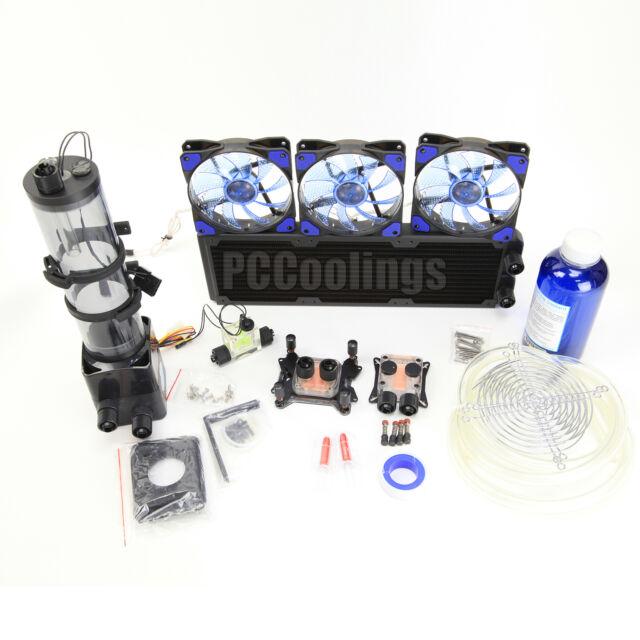 PC Liquid Cooling 360 Radiator Kit Pump 220mm Reservoir CPU GPU HeatSink Blue #1
