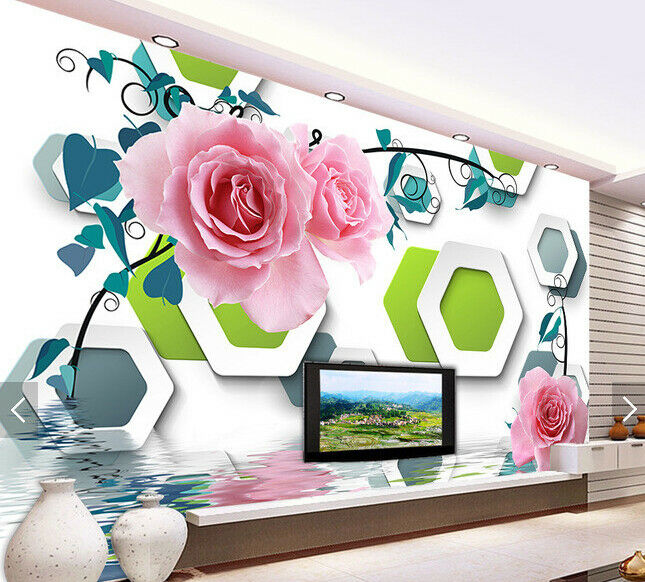 3D Flowers Grün Box8 Wallpaper Mural Paper Wall Print Wallpaper Murals UK Carly