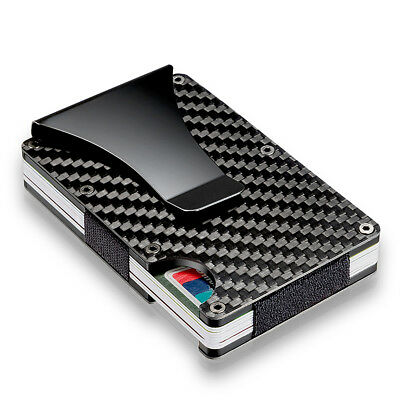 Slim Carbon Fiber Credit Card Holder RFID Blocking Metal Wallet Money Clip Gift