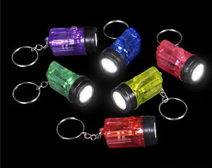 LOT OF 24 MINI FLASHLIGHT KEY CHAINS, LED BATTERIES INCLUDED, BRIGHT GOODY BAGS
