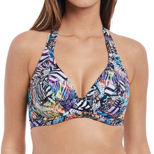 Freya Costumi da bagno caldo in Havana reggiseno con fasce e ferreto Halter Bikini Top Multi 2901