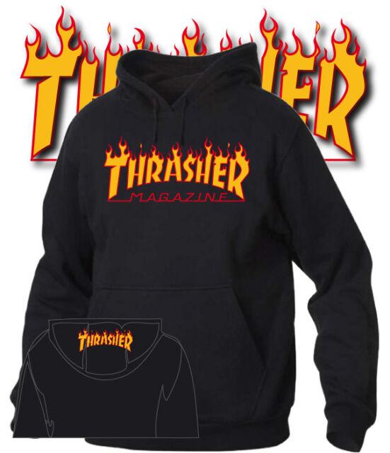 Felpa cappuccio Thrasher stampa fiamme uomo donna bambino riproduzione fedele