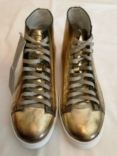 Uk Eu Santoni Metallic 4 Rrp Cleanic Sneakers 37 donna Top per Hi Gold 8UC1wZ