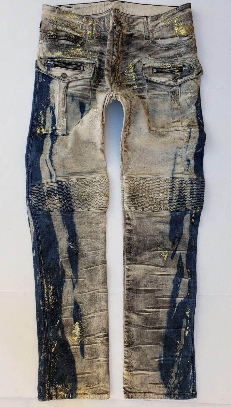 0eb42d2d New Men's ROBIN'S JEAN sz 42 Tintin Jeans -gold Foiled Biker Slim  nfhxiy9970-Jeans