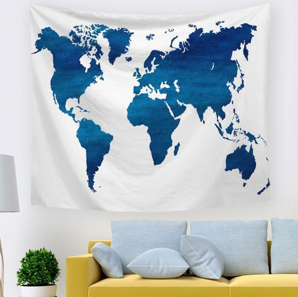 3D Blaue Weltkarte M115 Tapisserie Hängendes Tuch Hängen Wallpaper Wandbild Amy