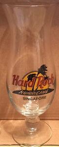Hard-Rock-Cafe-SINGAPORE-Hurricane-Glass-w-Classic-HRC-Logo-Palm-Tree-9-25-034-Tall