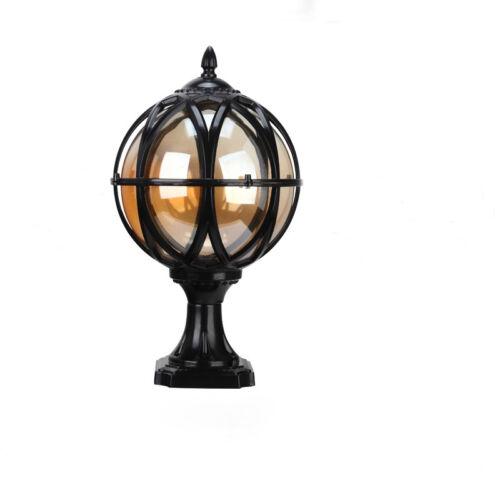 Vintage Tea Glass Globe Ball Outdoor Waterproof Garden Pillar Mounted Coach Lamp