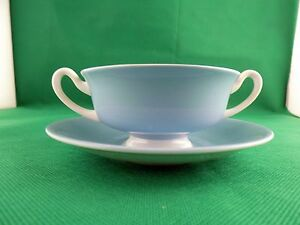 Royal-Doulton-Vista-White-amp-Blue-Soup-Cup-and-Saucer-c-1950