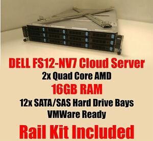 Dell-FS12-NV7-2x-Quad-Core-2-1Ghz-16-Go-RAM-Cloud-Serveur-VMware-Rack-Kit-Caddies