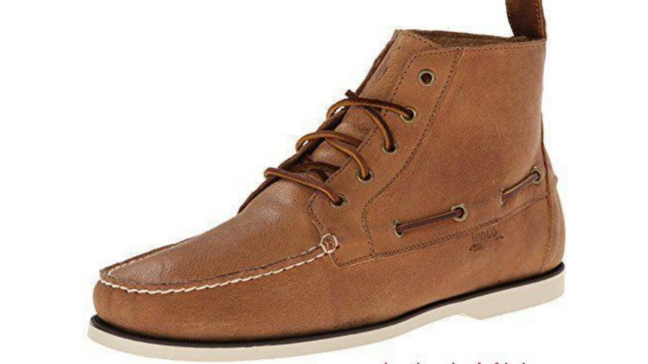 New Men's Polo Ralph Lauren Barrott Tan Waxy Pull Up Chukka Boots Size 13 D