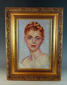 Vintage-French-Oil-Painting-Portrait-of-a-Young-Woman