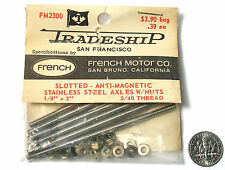 "10pc TRADESHIP Slot Car STAINLESS STEEL AXLE 1/8""x3""  5/40 Thread FM2300 French"