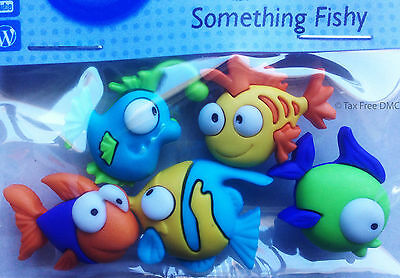 VAT Free Dress It Up Something Fishy 5 Buttons Crafting Cardmaking Sewing New