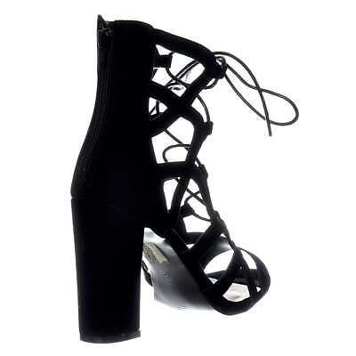 Damen Spitze Zum Schnüren Blockabsatz Peetoe Sandalen Schuhe Gladiator Größe