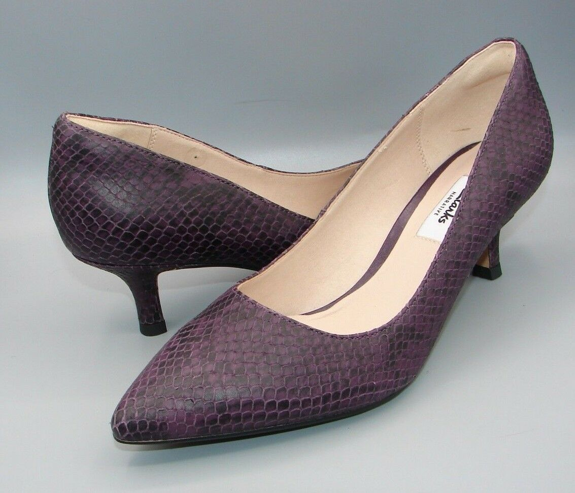 Aquifer Soda Clark's Womens Ladies Purple Snake Leather shoes size 5.5 D.