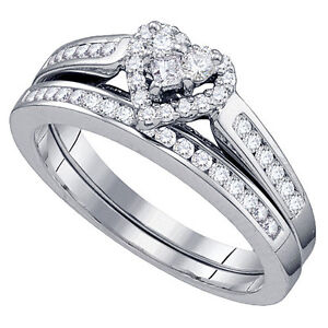 WOMENS HEART SHAPE DIAMOND ENGAGEMENT PROMISE HALO RING WEDDING