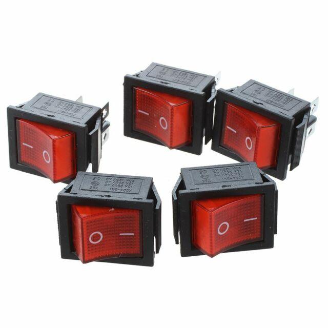 16A/250V 20A/125V AC Red Neon Light ON/OFF DPST Boat Rocker Switch 5 Pcs V8X7