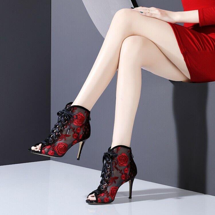 Women's Sandals Stilettos Floral Lace up Peep Toe High heels Party Mesh shoes