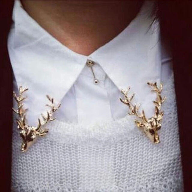 1xClassic Christmas Animal Jewelry Cute Gold Plated Deer Antlers Head Pin Brooch