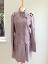 COATIGAN SIZE 14 WOOL 100%  MILITARY STYLE LAURA CLEMENT BOUCLE DEEP MINK  BNWT