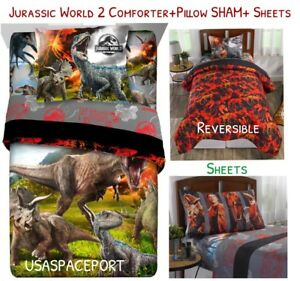 Jurassic World 2 Movie Dinosaur Twin Full Comforter Sheets Sham Set
