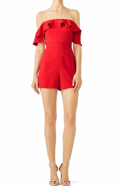 58c9e6ab24e Jay Godfrey Red Women s Size 2 Ruffle Off-The-Shoulder Crepe Romper ...
