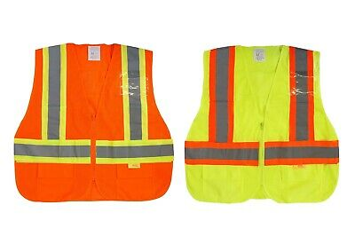 Class 2 Two Tone High Visibility Safety Vest w// Reflective Strips Pockets-9811//2