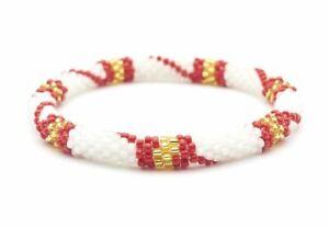 """Sashka Co Regular 6-8/"""" CHRISTMAS Glass Beaded BRACELET Nepal T17 red white green"""