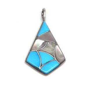 Zuni Handmade Sterling Silver Inlay Turquoise /& Mother Of Pearl Inlay Pendant