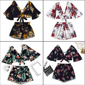 Two-Piece-Set-Women-Botanical-Casual-Summer-V-Collar-Top-Shorts-Beachwear-New
