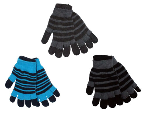 PIERRE ROCHE Mens Two in One Cold Weather Winter Acrylic Magic Gloves Striped