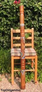 """Adroit 47 """"\ 120cm Aborigène Didgeridoo Lézard Sculpté à La Main Dot-peint Art + Sac + Vente Chaude 50-70% De RéDuction"""