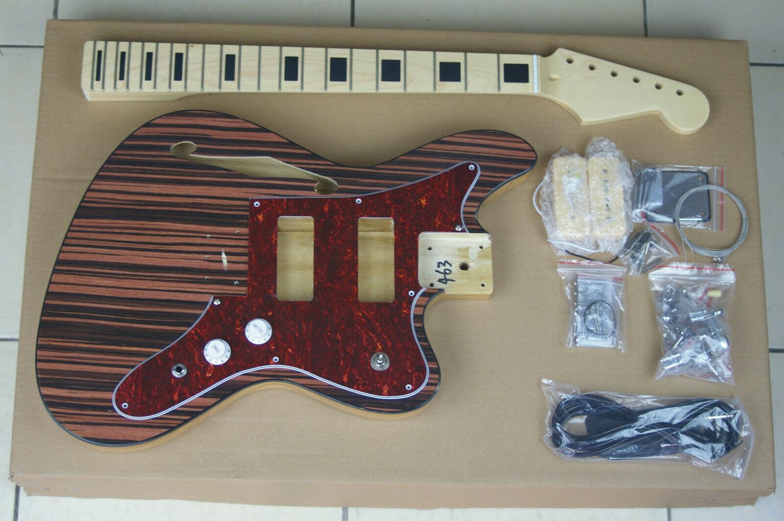 DIY Build Your Own GUITAR KIT J Master Thinline Edge Bound Dark Zebra Wood Top