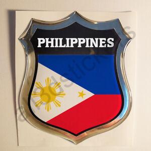 Sticker-Philippines-Emblem-3D-Resin-Domed-Gel-Philippines-Flag-Vinyl-Decal-Car